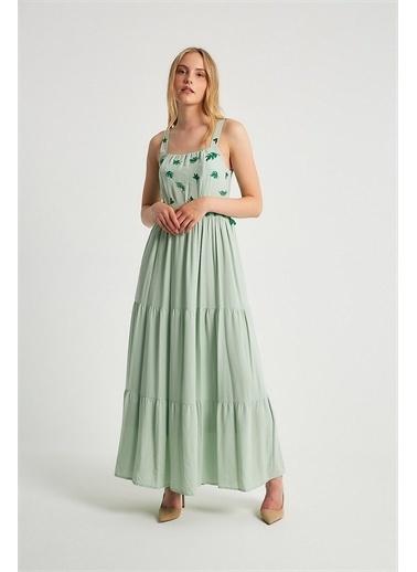 Robin Robin Askılı Püskül Detaylı Elbise Mint Yeşil